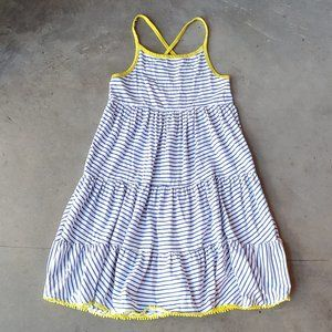 Mini Boden Blue White Striped Tiered Dress 9-10Y